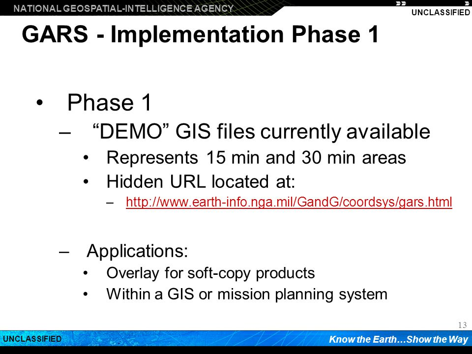GARS - Implementation Phase 1