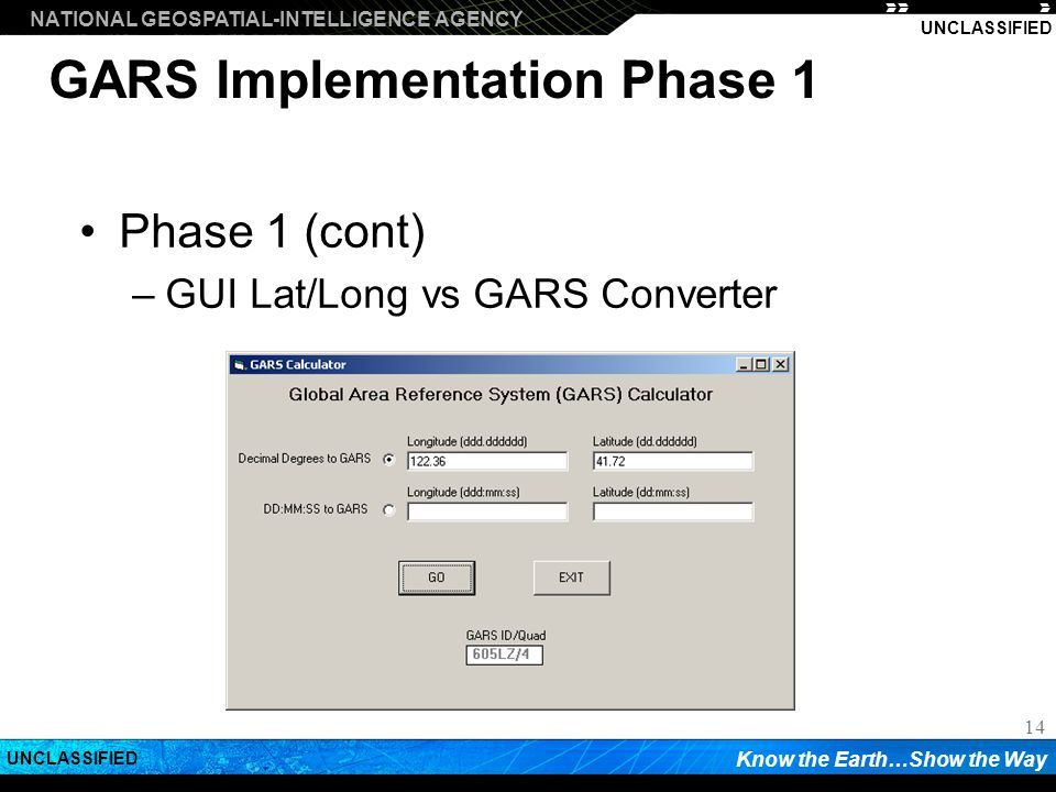 GARS Implementation Phase 1