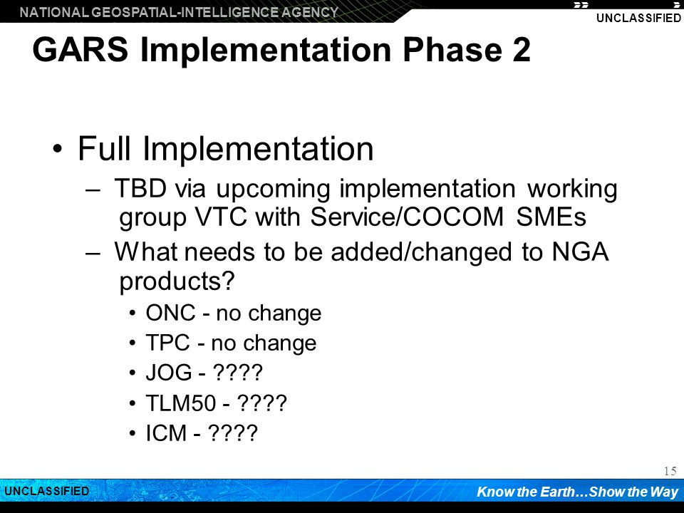 GARS Implementation Phase 2