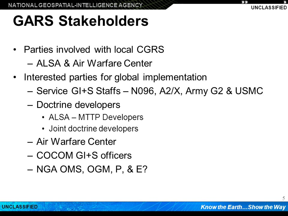 GARS Stakeholders Parties involved with local CGRS