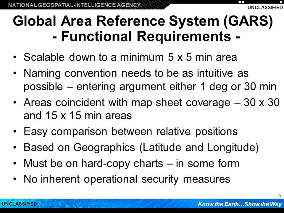 Global Area Reference System (GARS) - Functional Requirements -