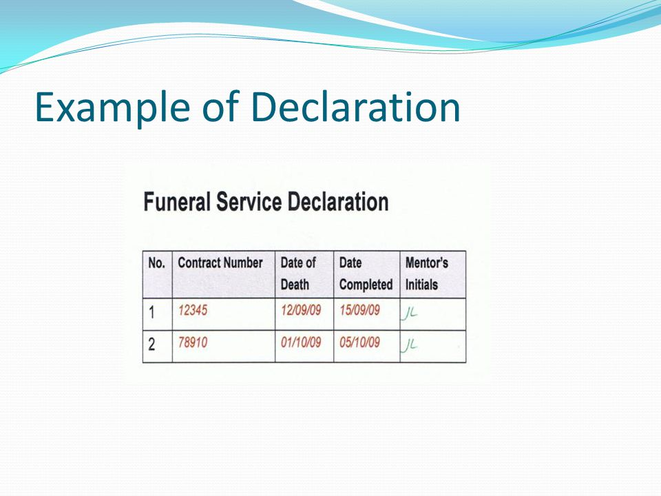 Example of Declaration