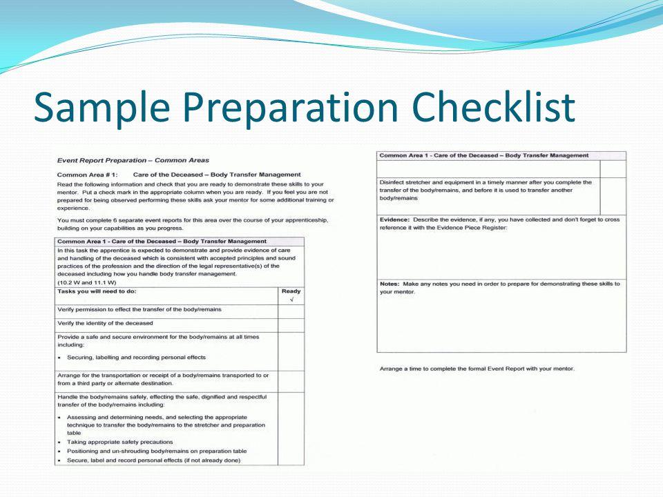 Sample Preparation Checklist