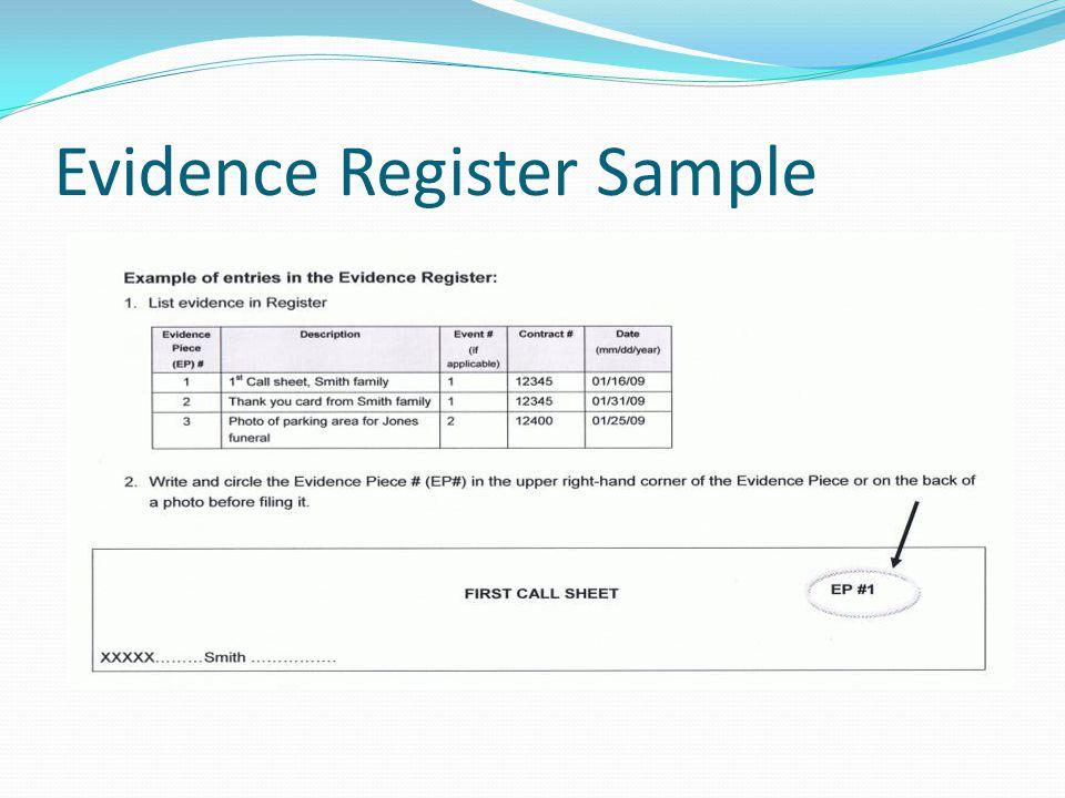 Evidence Register Sample