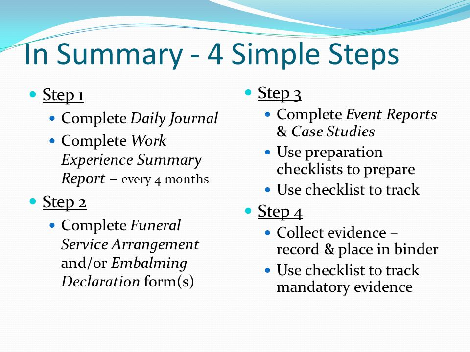 In Summary - 4 Simple Steps