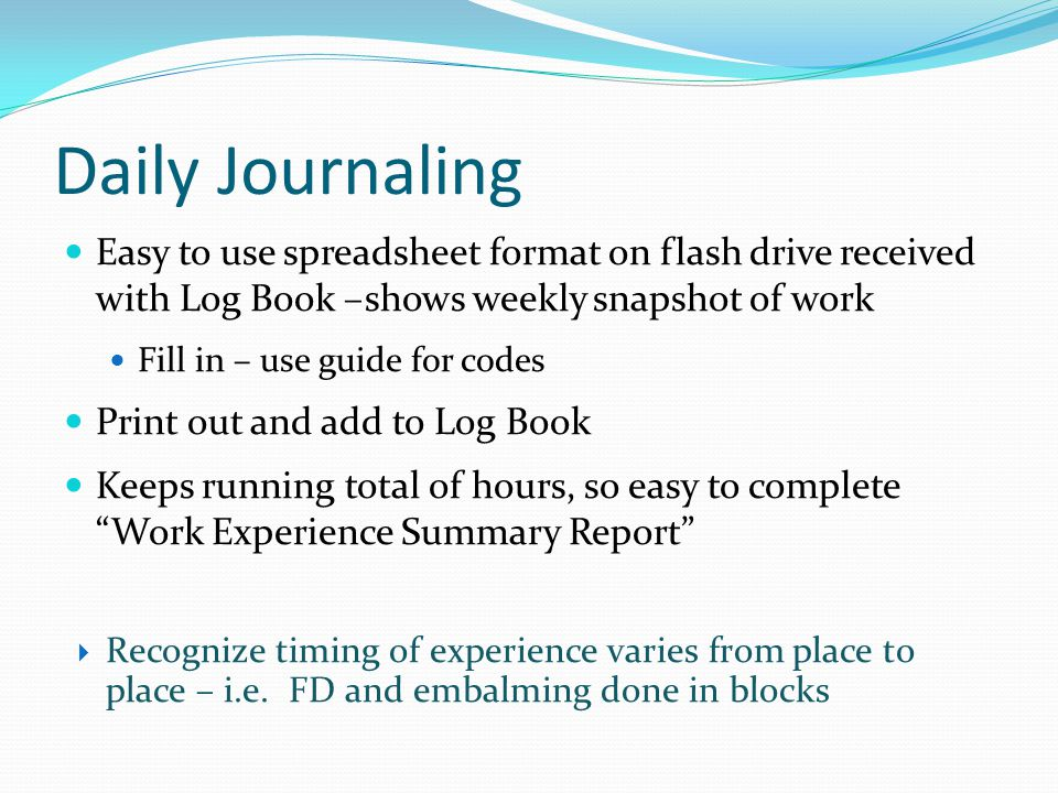 Daily Journaling Easy to use spreadsheet format on flash drive received with Log Book –shows weekly snapshot of work.