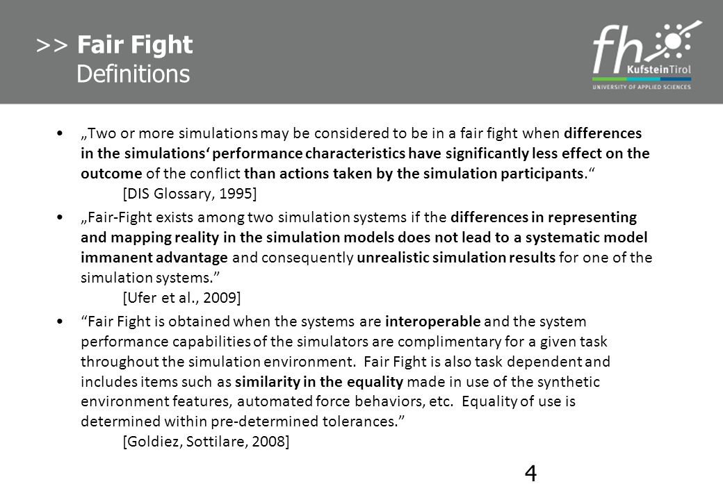 >> Fair Fight Definitions