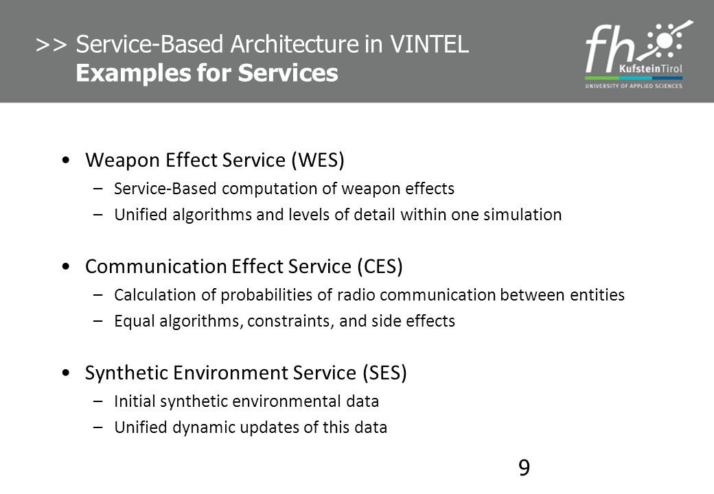 >> Service-Based Architecture in VINTEL Examples for Services