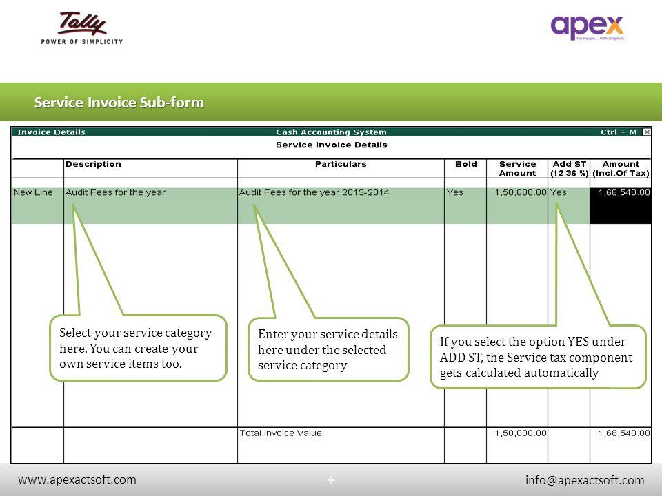 Service Invoice Sub-form