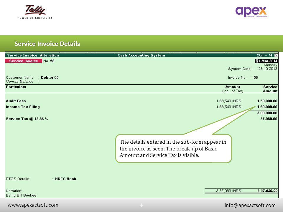 Service Invoice Details