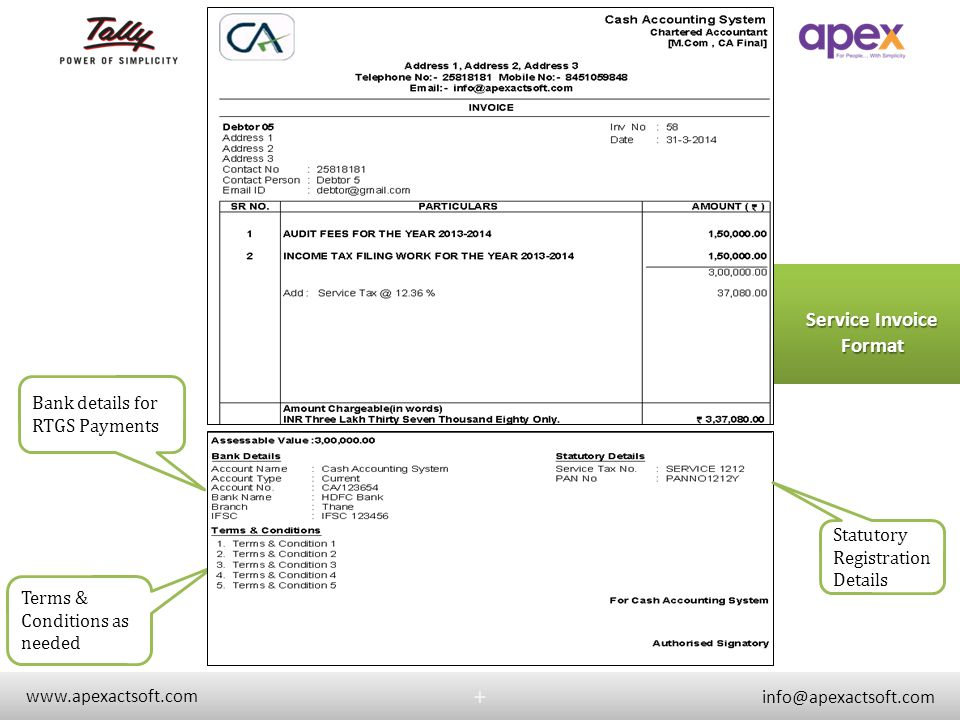 Service Invoice Format