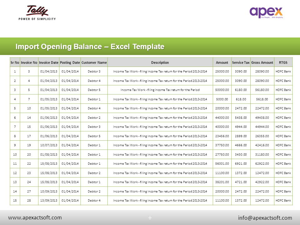 Import Opening Balance – Excel Template