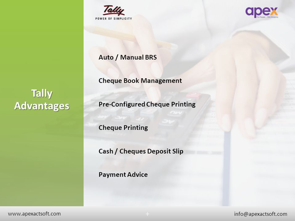 Tally Advantages + Auto / Manual BRS Cheque Book Management