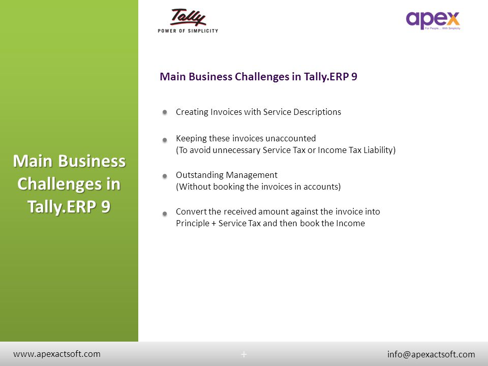 Main Business Challenges in Tally.ERP 9