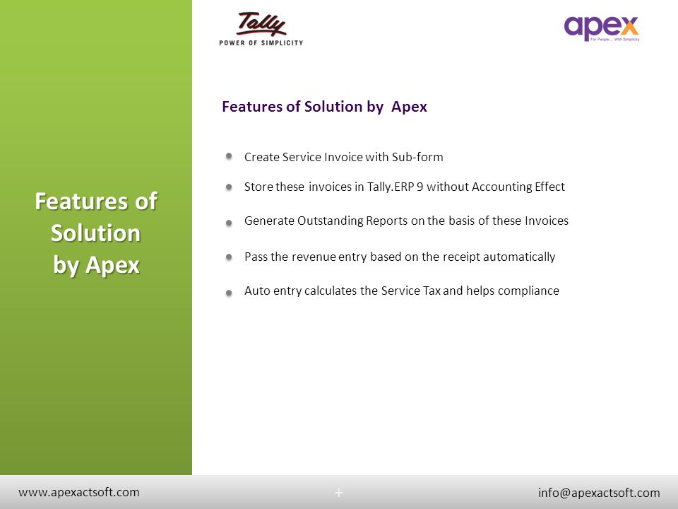 Features of Solution by Apex