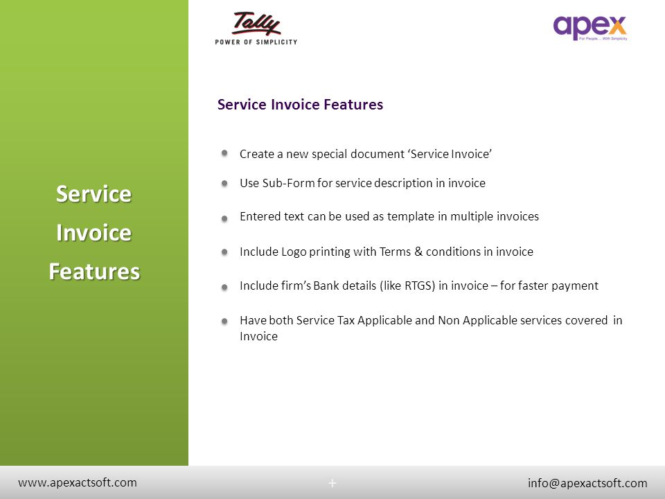 Service Invoice Features