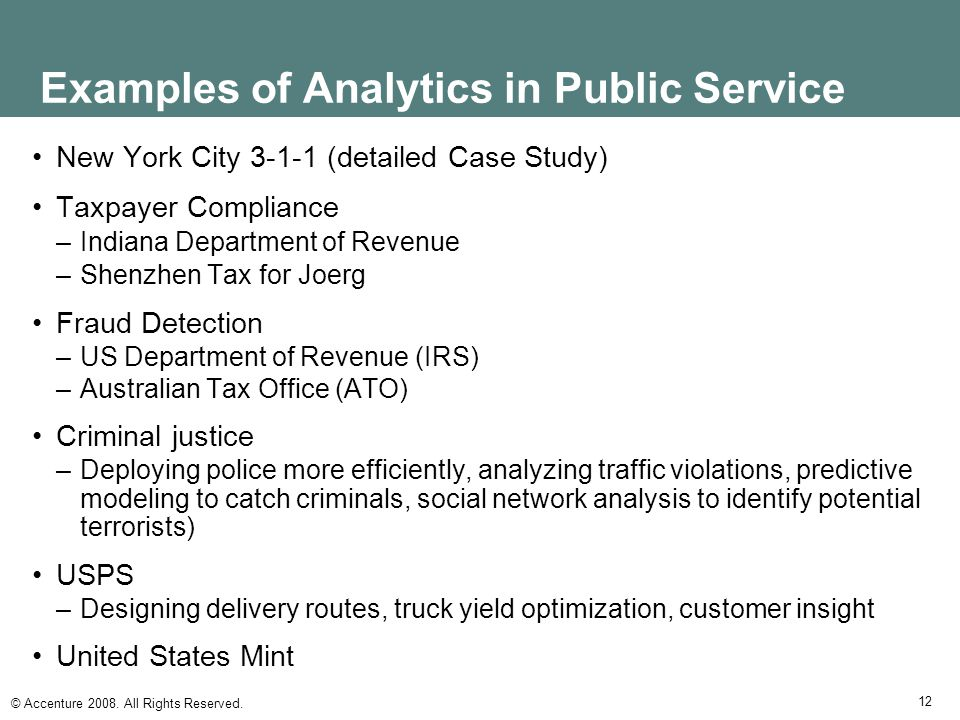 Examples of Analytics in Public Service