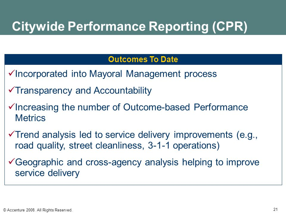 Citywide Performance Reporting (CPR)