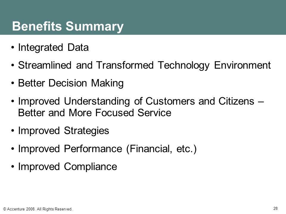 Benefits Summary Integrated Data