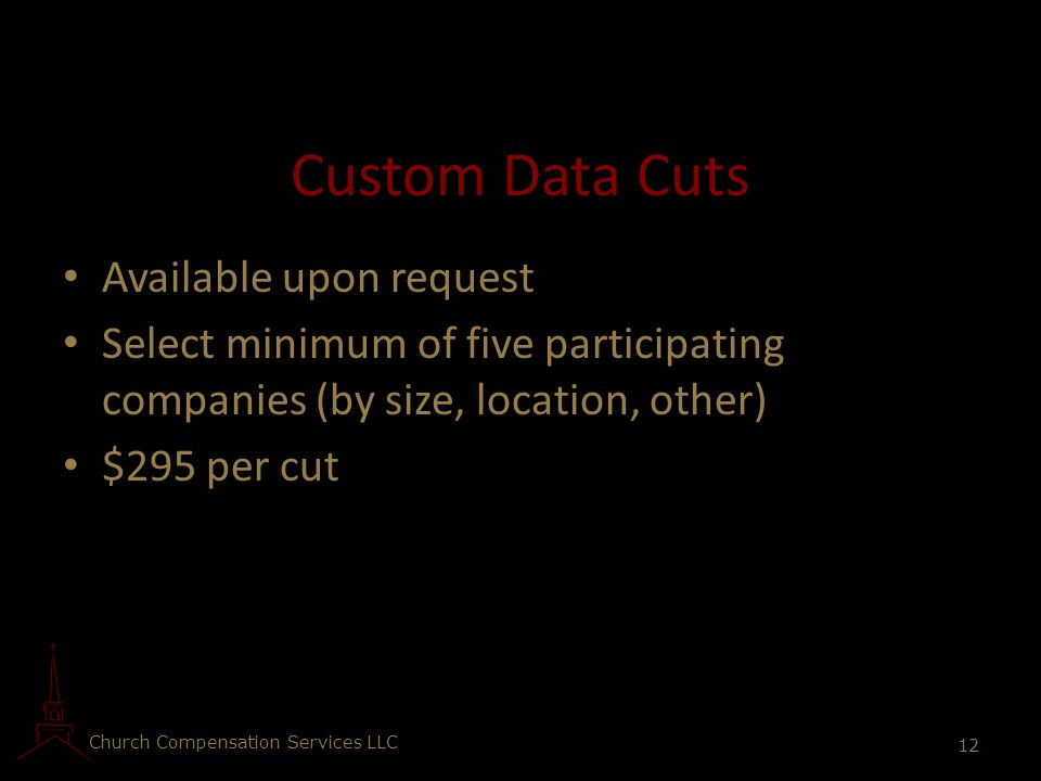 Custom Data Cuts Available upon request