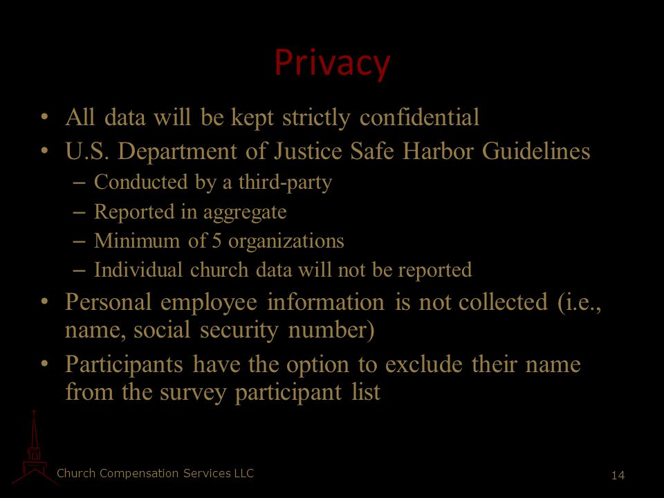 Privacy All data will be kept strictly confidential