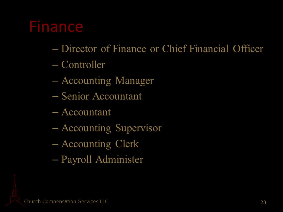 Finance Director of Finance or Chief Financial Officer Controller