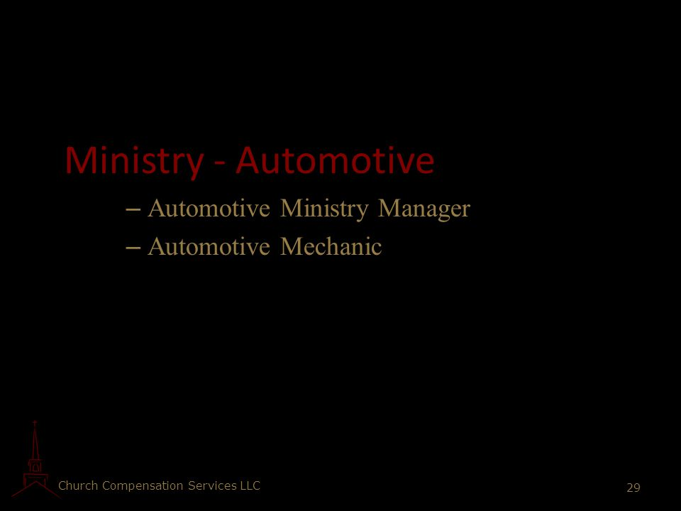 Ministry - Automotive Automotive Ministry Manager Automotive Mechanic