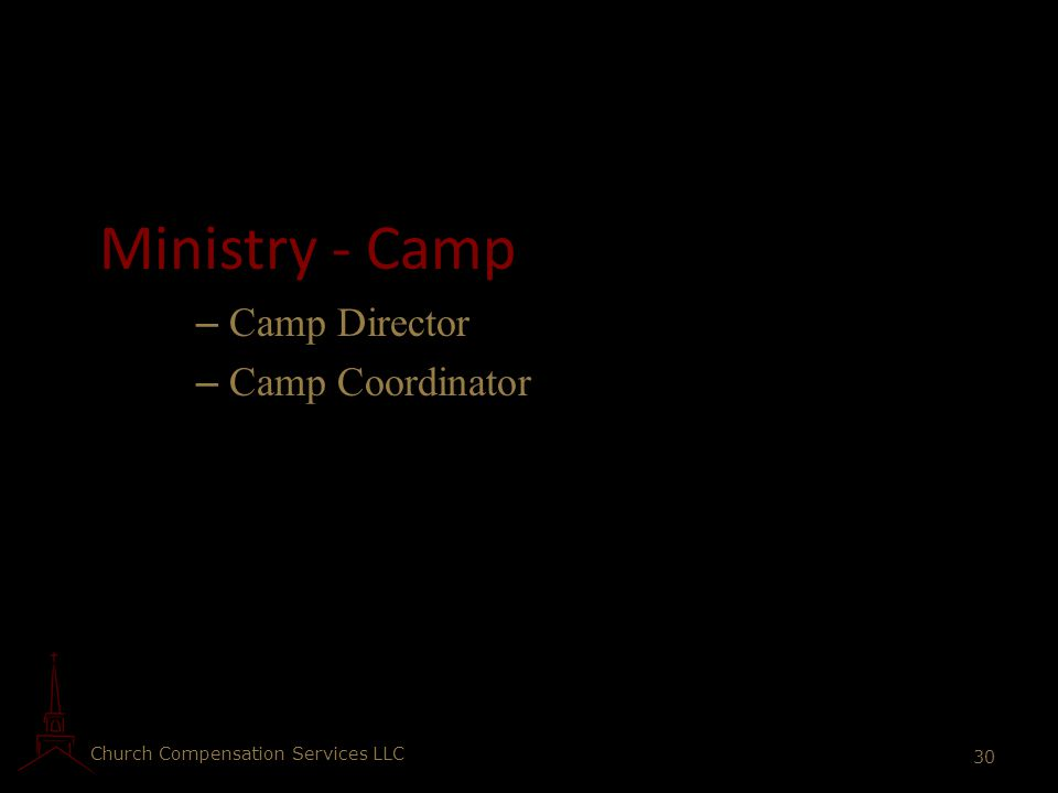 Ministry - Camp Camp Director Camp Coordinator
