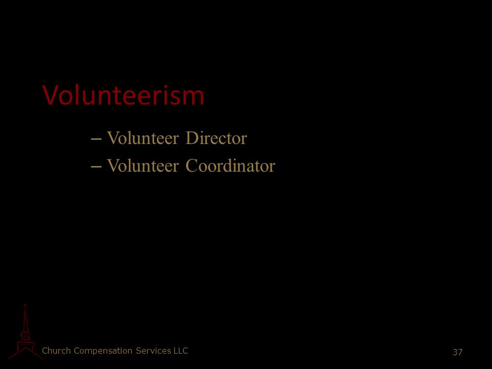 Volunteerism Volunteer Director Volunteer Coordinator