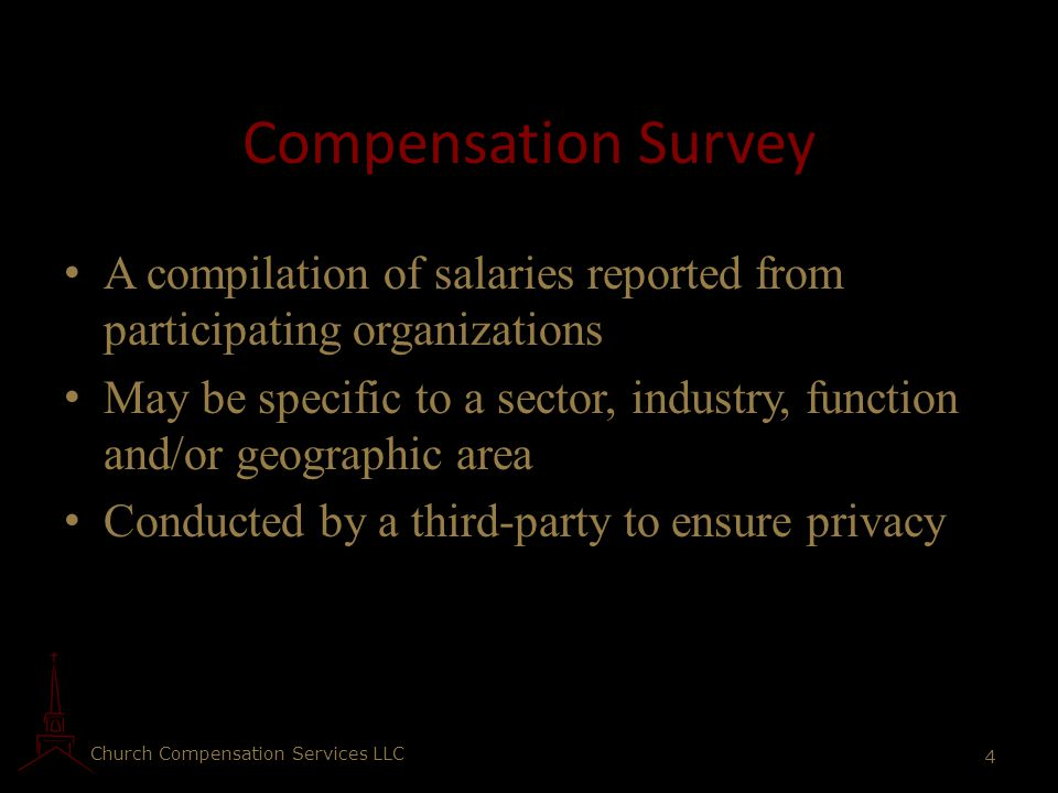 Compensation Survey A compilation of salaries reported from participating organizations.