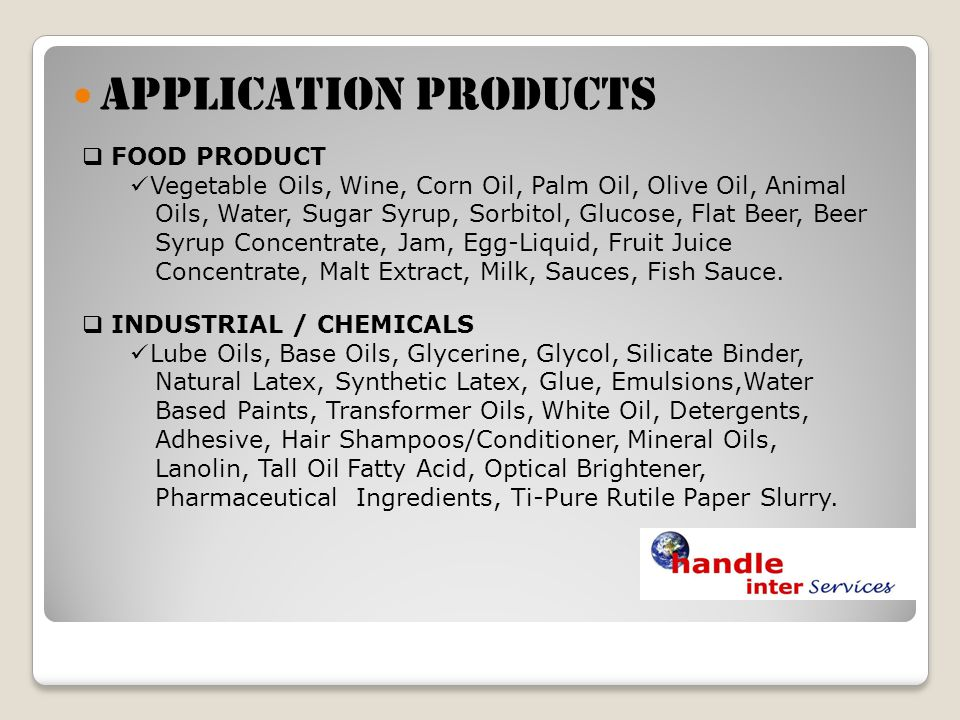 APPLICATION PRODUCTS FOOD PRODUCT