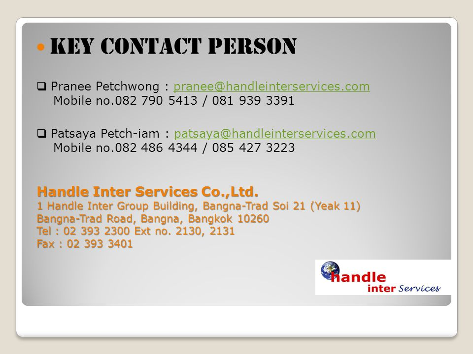 Key contact person Handle Inter Services Co.,Ltd.