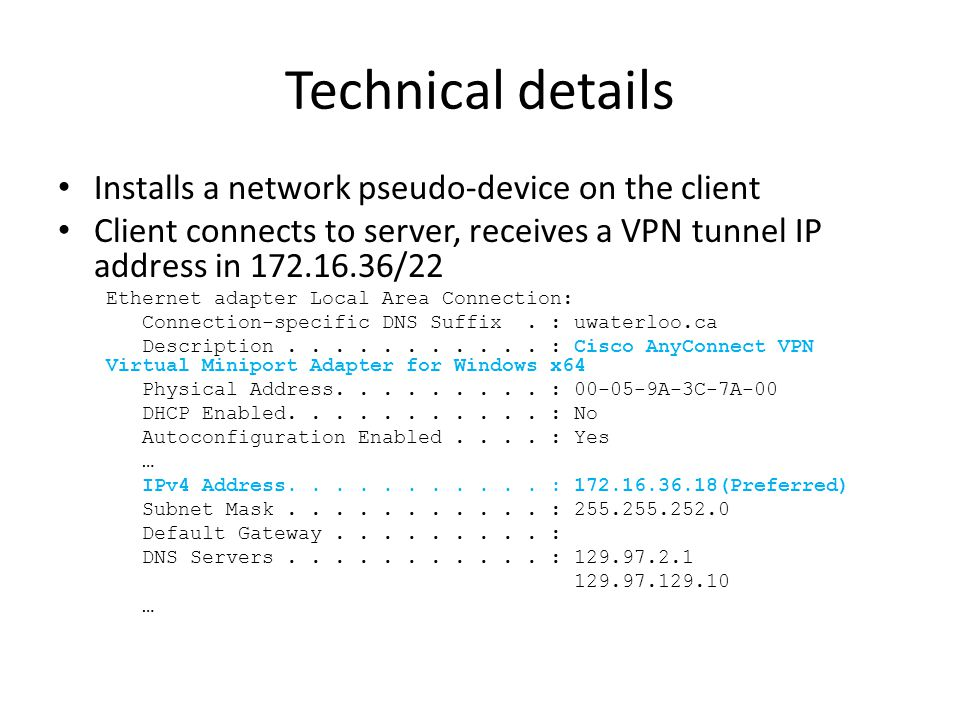 Technical details Installs a network pseudo-device on the client