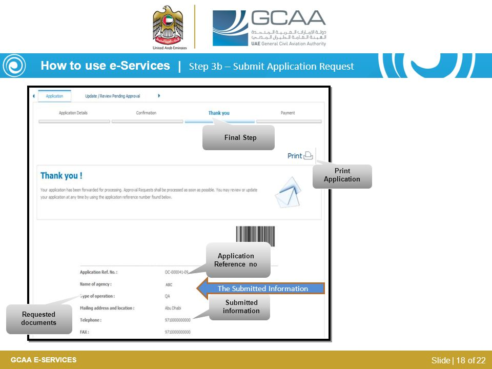Application Reference no Submitted information