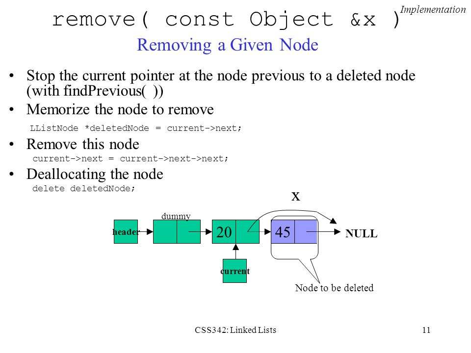 remove( const Object &x ) Removing a Given Node