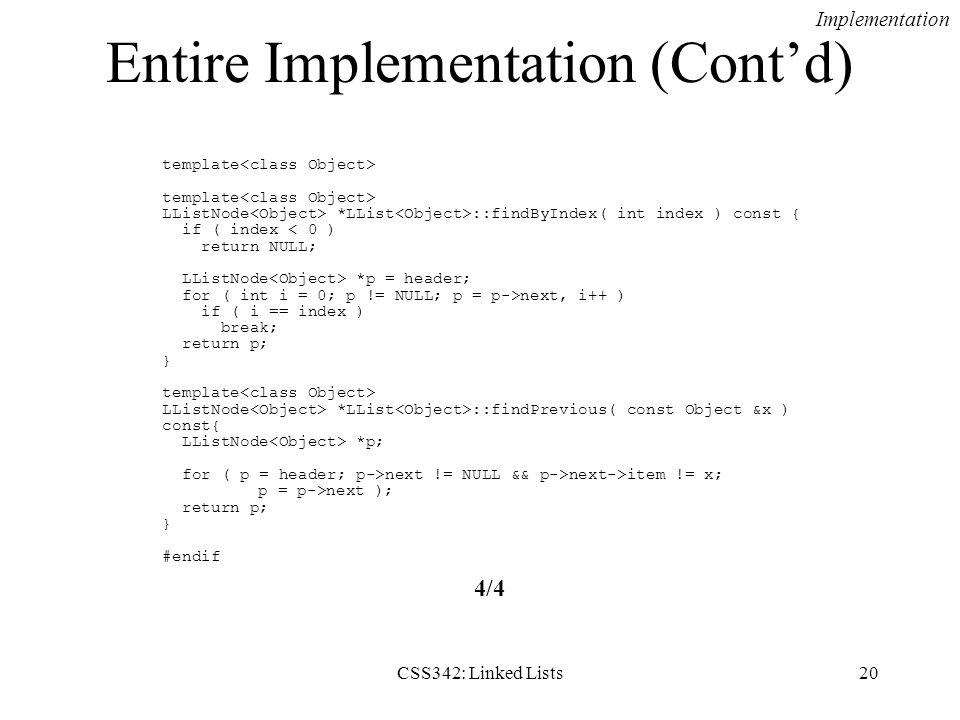 Entire Implementation (Cont'd)