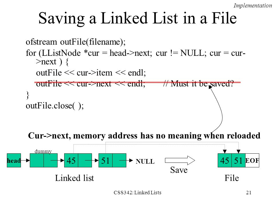 Saving a Linked List in a File