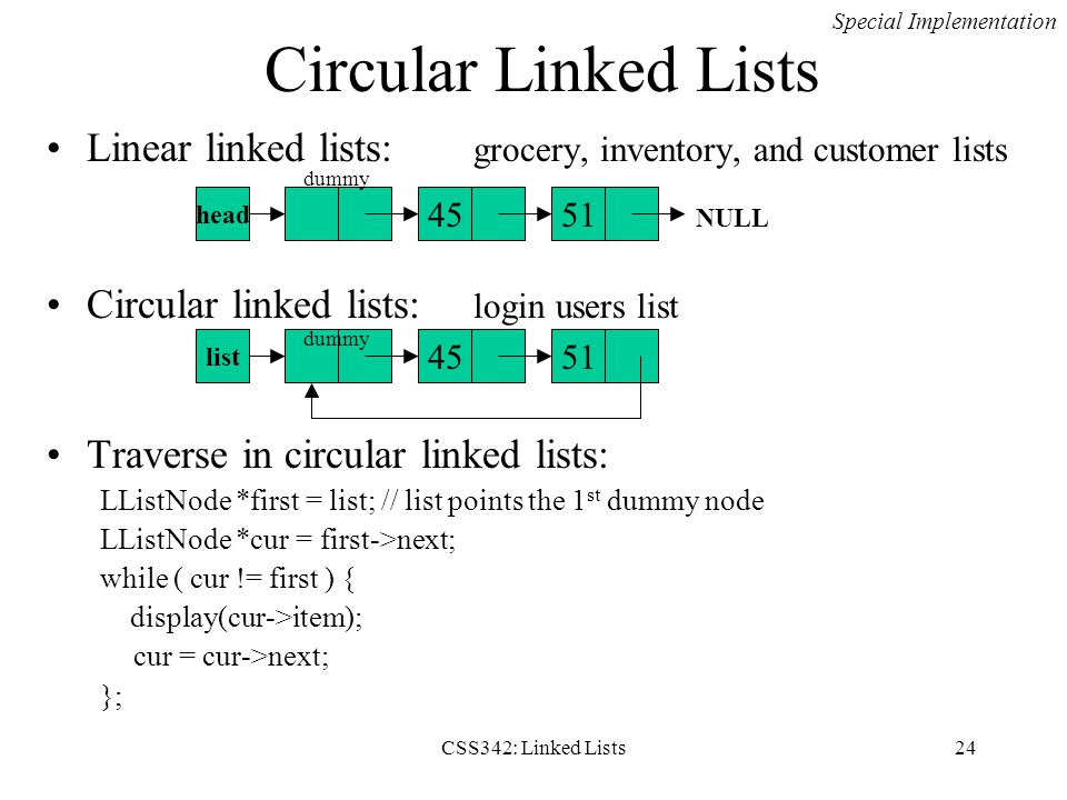 Circular Linked Lists Special Implementation. Linear linked lists: grocery, inventory, and customer lists.