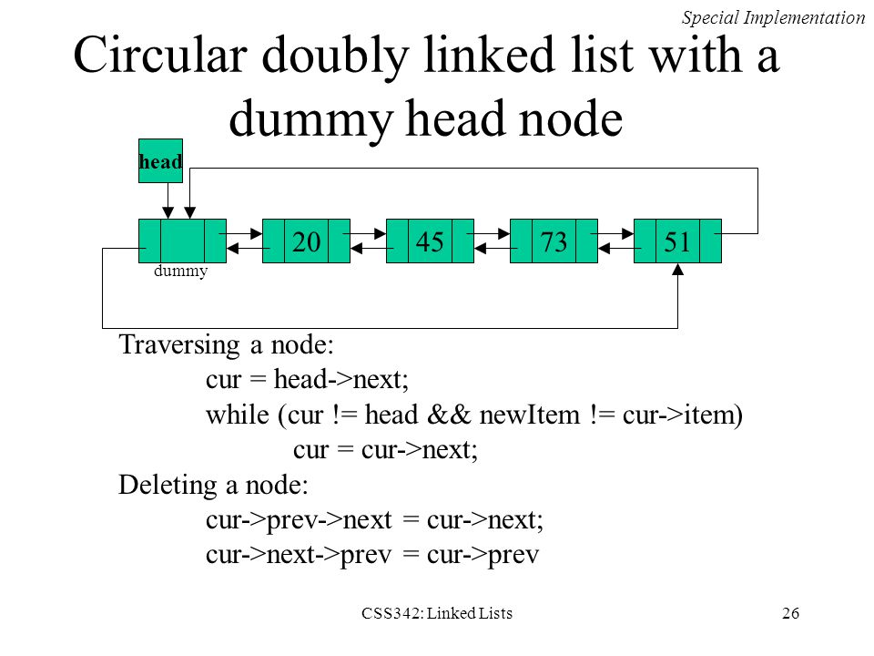 Circular doubly linked list with a dummy head node