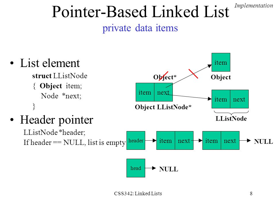 Pointer-Based Linked List private data items