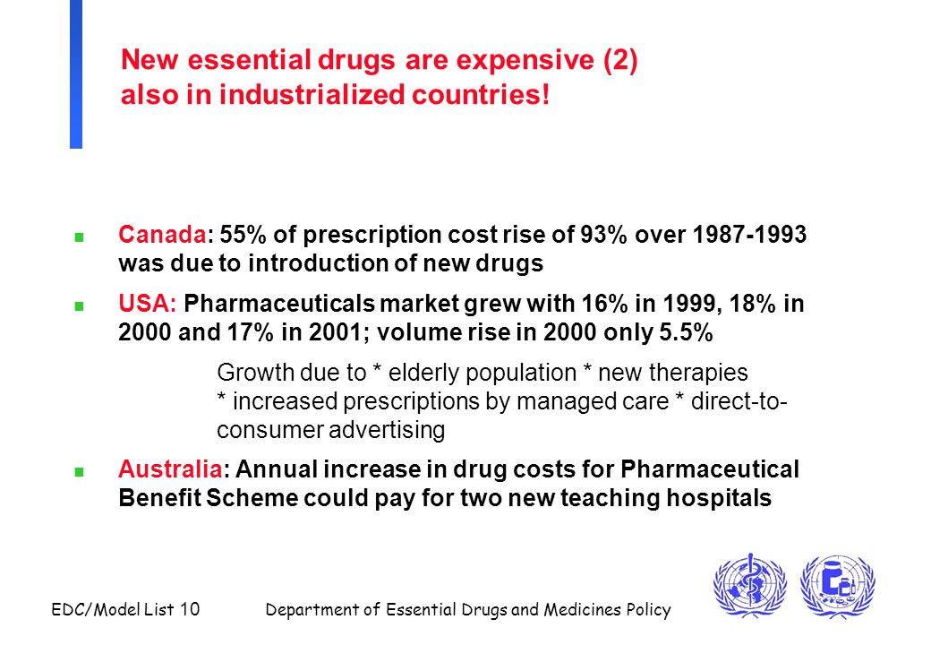 New essential drugs are expensive (2) also in industrialized countries!