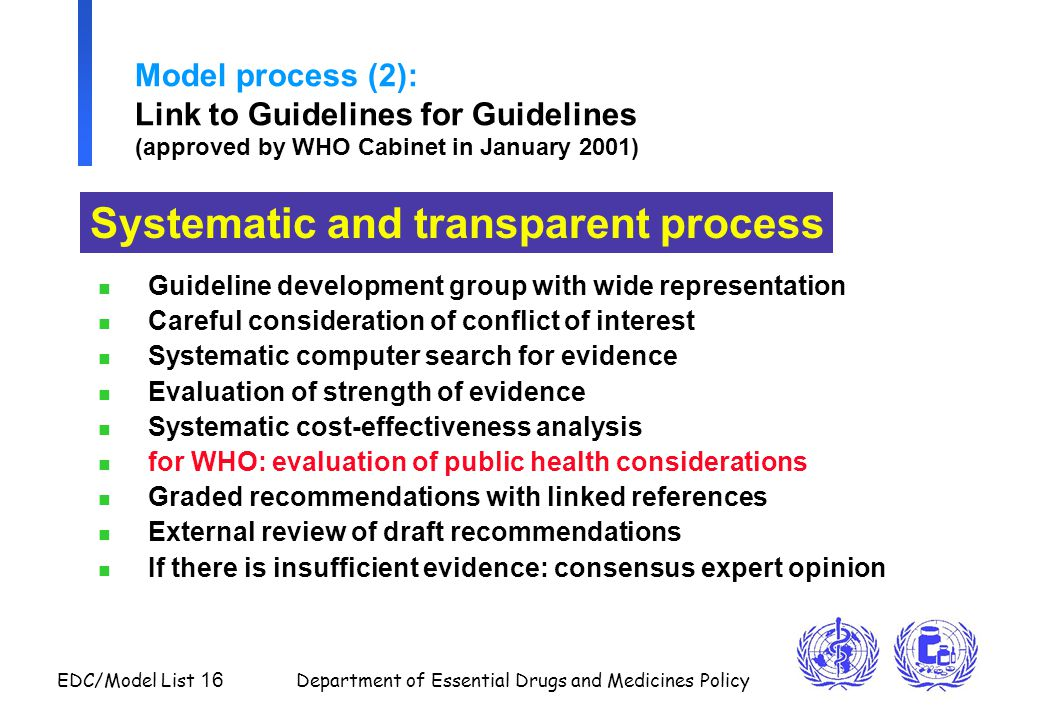 Systematic and transparent process