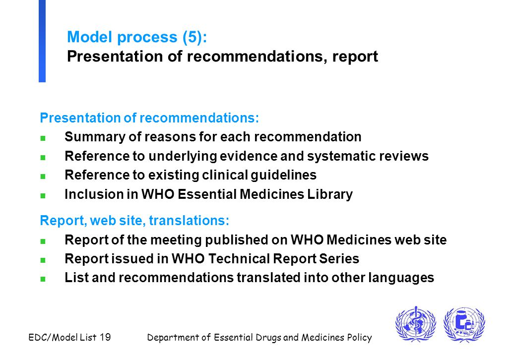 Model process (5): Presentation of recommendations, report