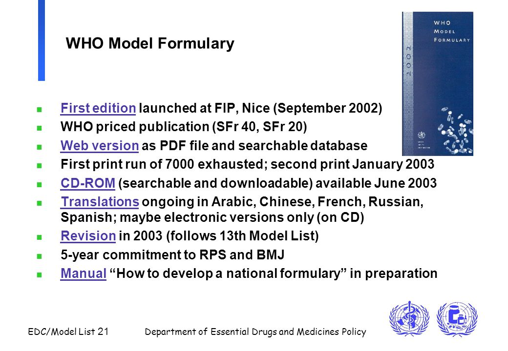 WHO Model Formulary First edition launched at FIP, Nice (September 2002) WHO priced publication (SFr 40, SFr 20)