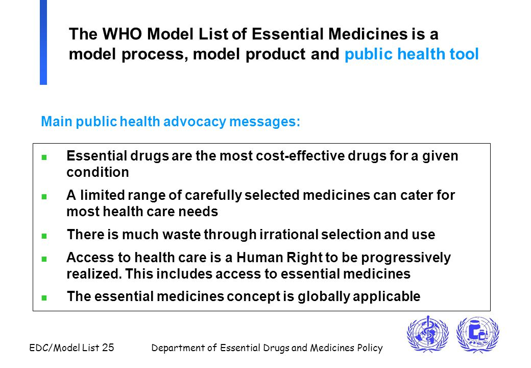 The WHO Model List of Essential Medicines is a model process, model product and public health tool