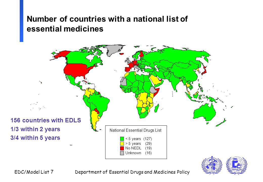 Number of countries with a national list of essential medicines