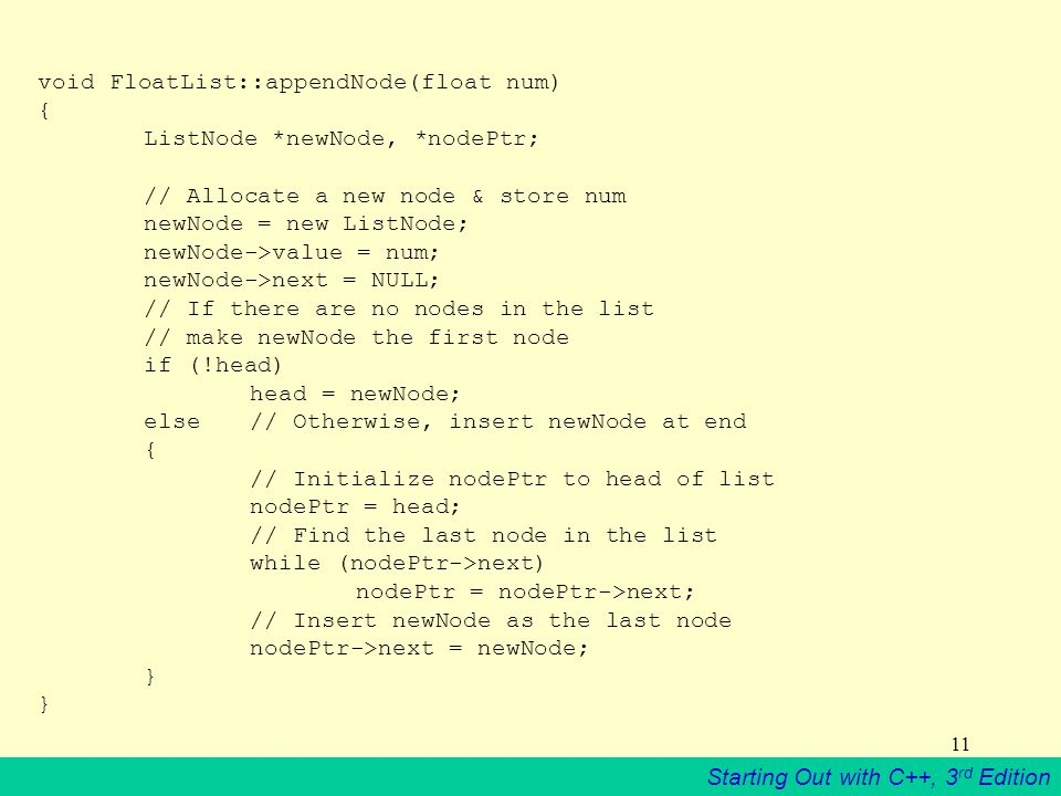 void FloatList::appendNode(float num) {. ListNode. newNode,. nodePtr;