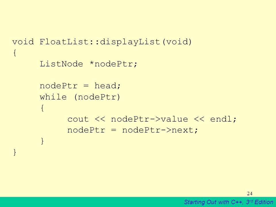 void FloatList::displayList(void) {. ListNode. nodePtr;