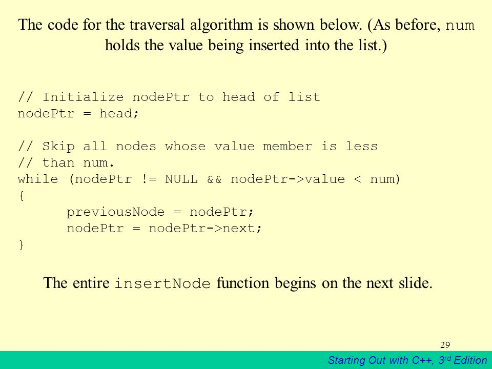 The entire insertNode function begins on the next slide.