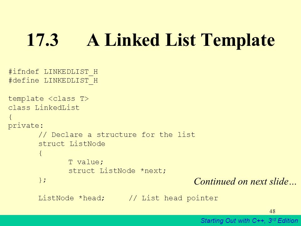 17.3 A Linked List Template Continued on next slide…